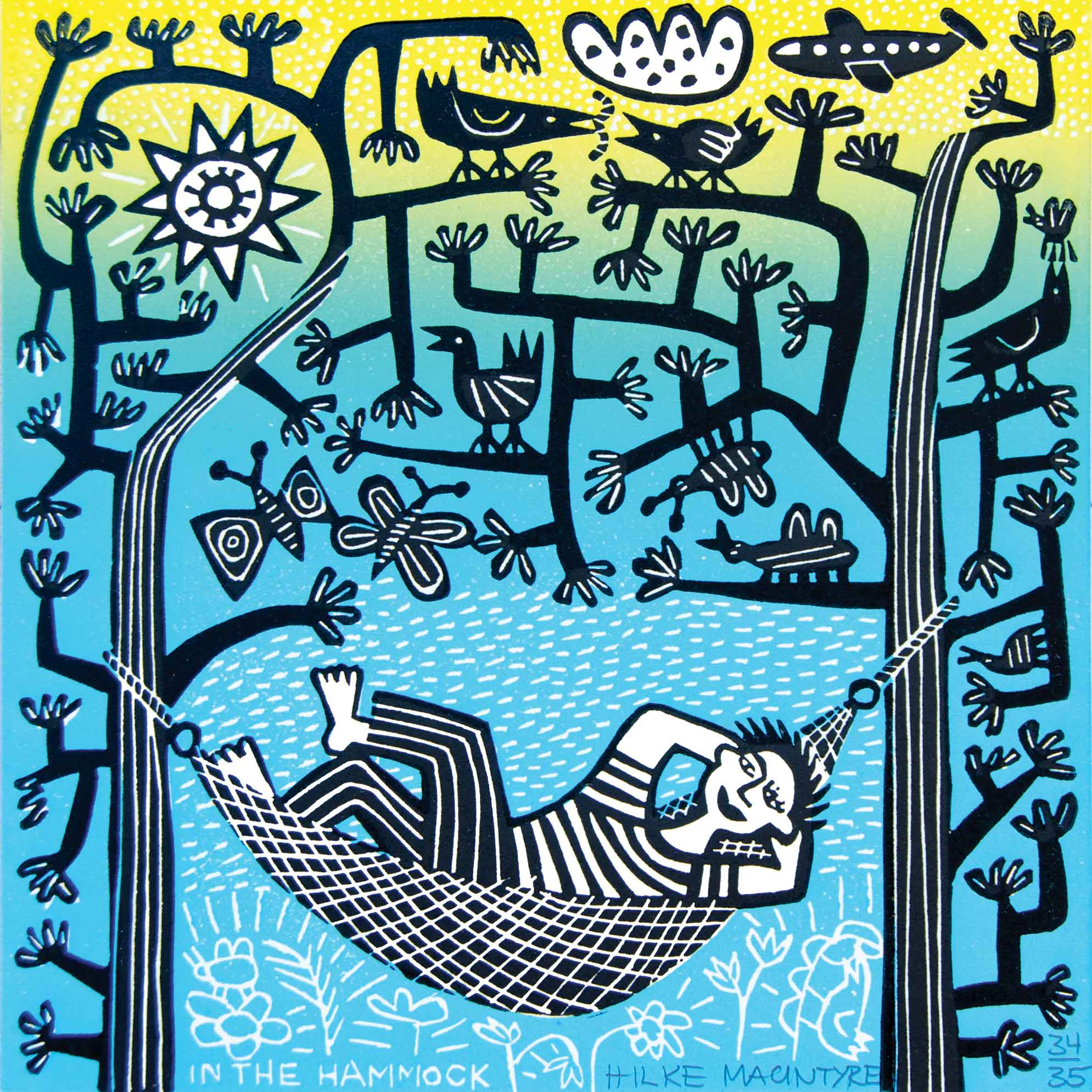 In the Hammock by Hilke MacIntyre, Art Greeting Card, Linocut, Woman in hammock
