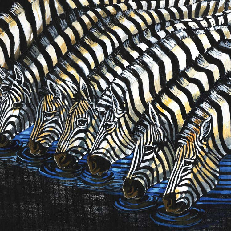 Fine Art Greeting Card, Watercolour, Group of zebras drinking