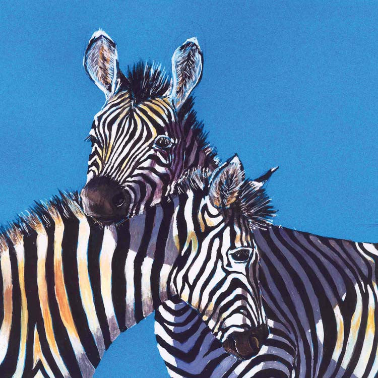 Fine Art Greeting Card, Watercolour, Two zebras