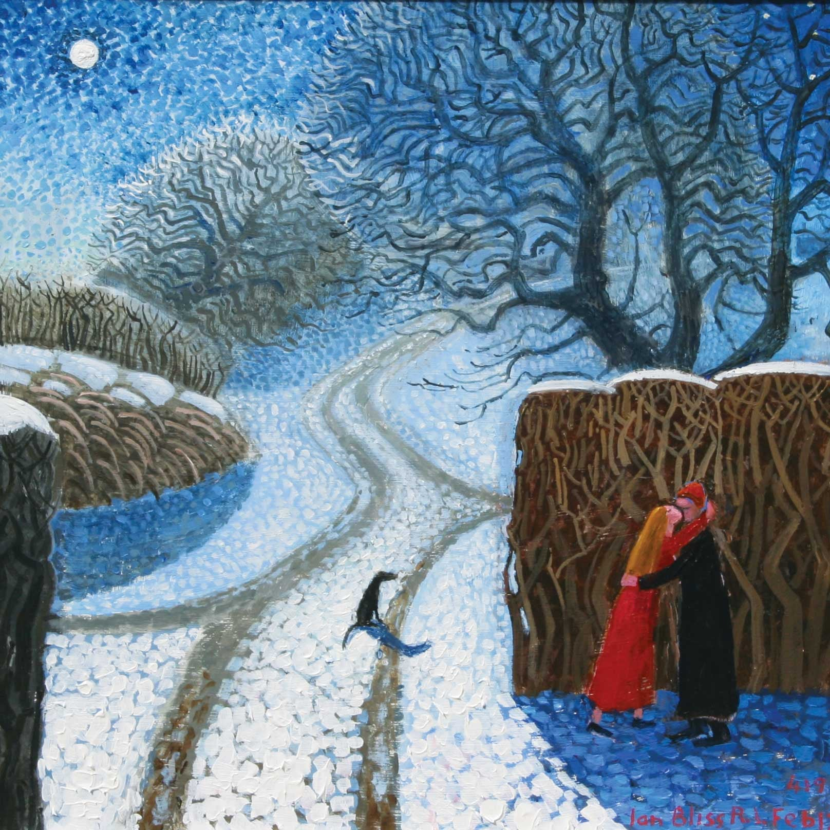 Midnight Kisses by Ian Bliss, Fine Art Greeting Card, Acrylic on Board, Man and woman kissing in the moonlight, dog waiting on the snowy road