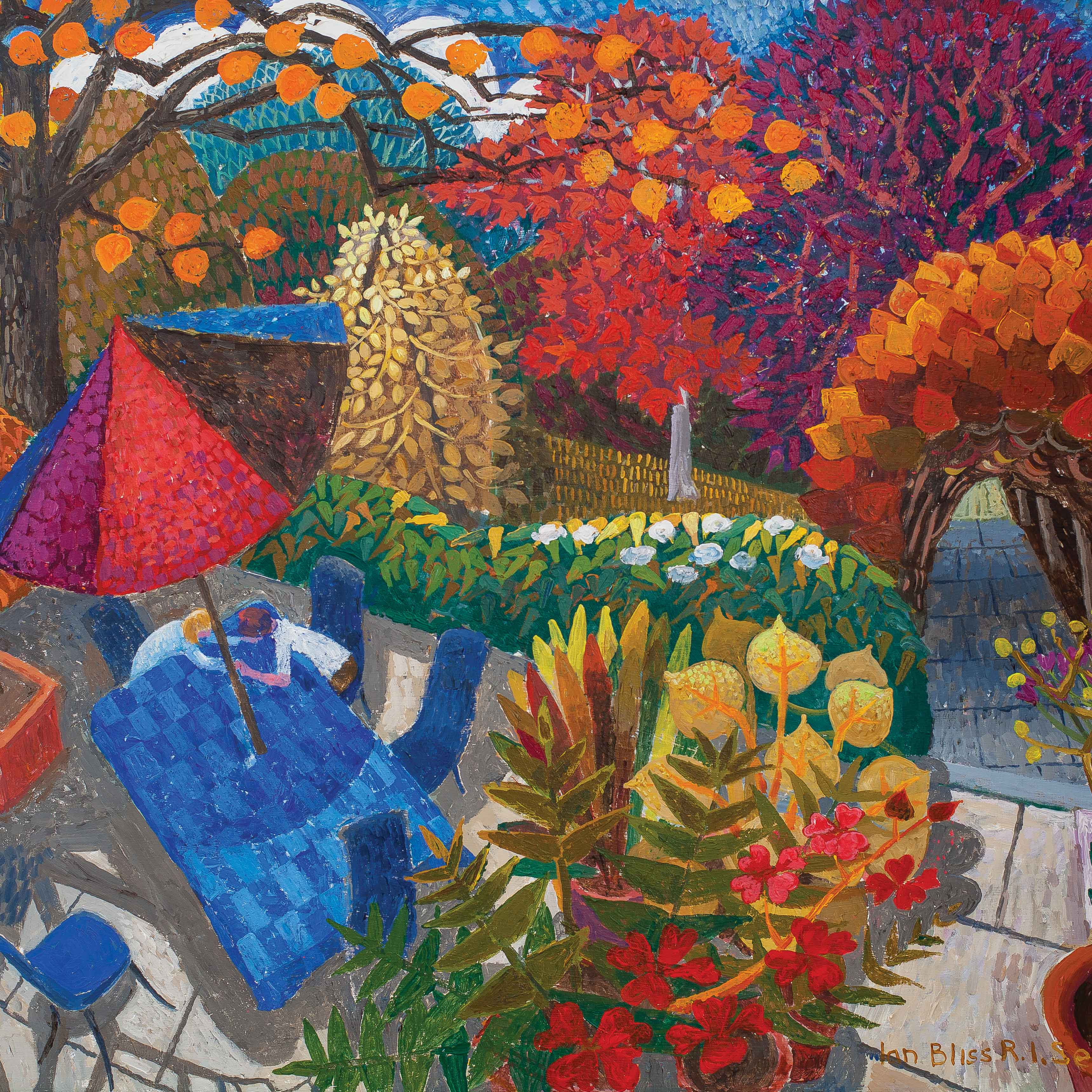 Art greeting card by Ian Bliss, acrylic, couple at table in the garden, talking