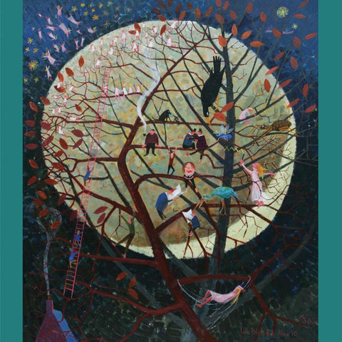 Fine Art Greeting Card, Acrylic on Board, Fairies in Tree