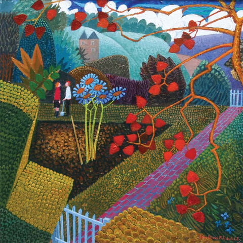 Fine Art Greeting Card, Acrylic on Board, Chatting in the Garden