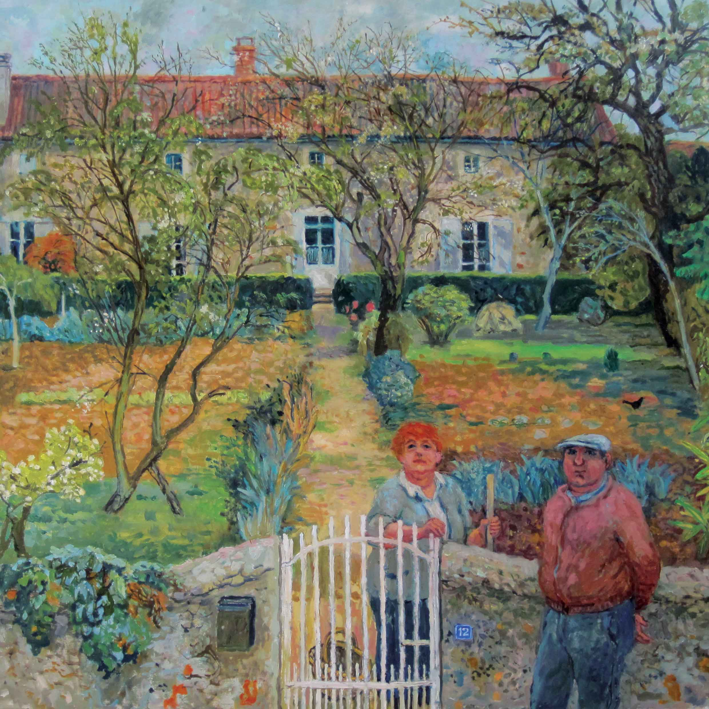 This Season's Hair Colour by June Berry, Art Greeting Card, watercolour, couple standing by a country garden gate