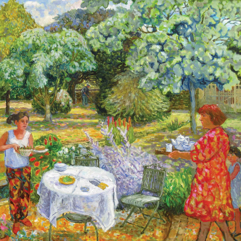 Tea in the Garden by June Berry, Fine Art Greeting Card, Watercolour, Woman and two girls setting garden table