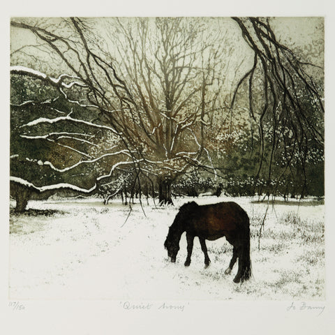 Quiet Hours by Jo Berry, Art Greeting Card, RE range, Horse grazing in winter landscape