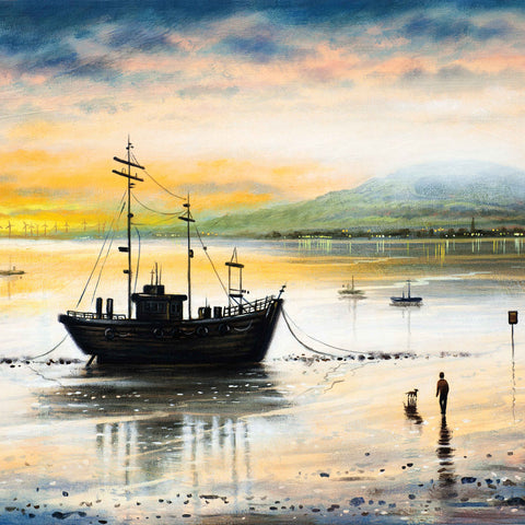 Black Combe Dawn by John Duffin, Fine Art Greeting Card, Oil Painting, Anchored boat, person and dog on beach