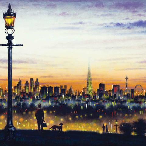 Primrose Hill by John Duffin, Fine Art Greeting Card, Oil Painting, Man and dog on Primrose Hill
