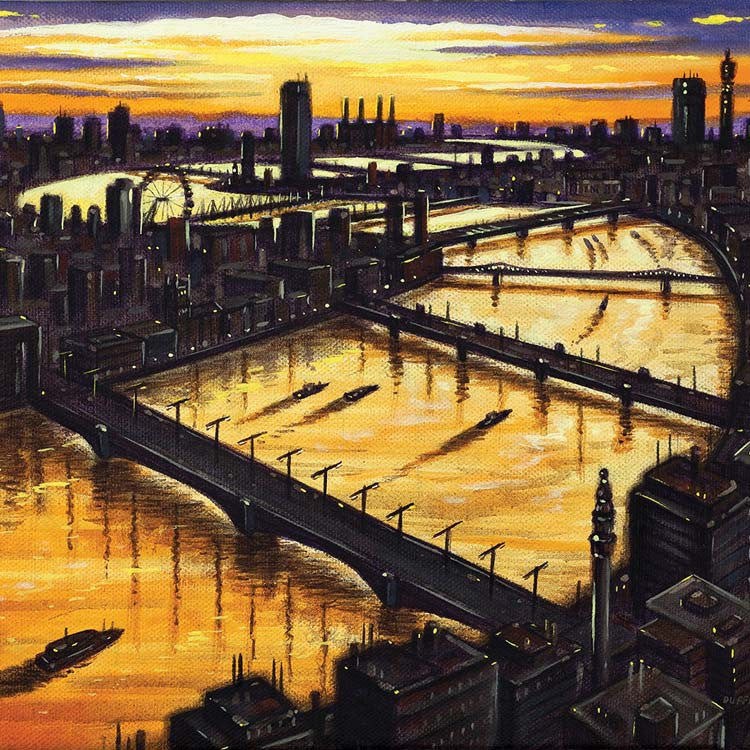 Art Greeting Card, Oil, London Bridge to Battersea at dawn