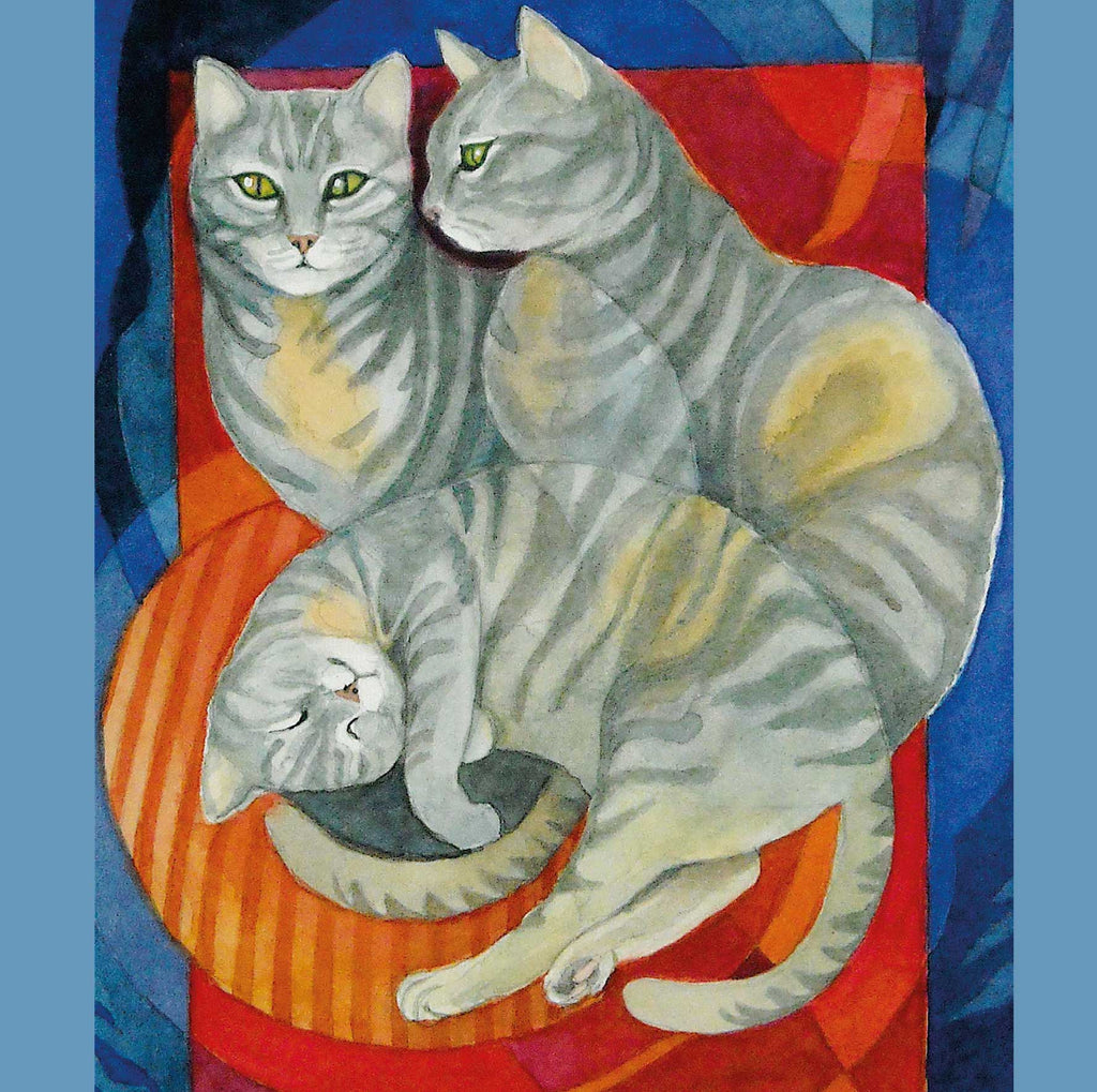 Fine Art Greeting Card, Cat in three poses