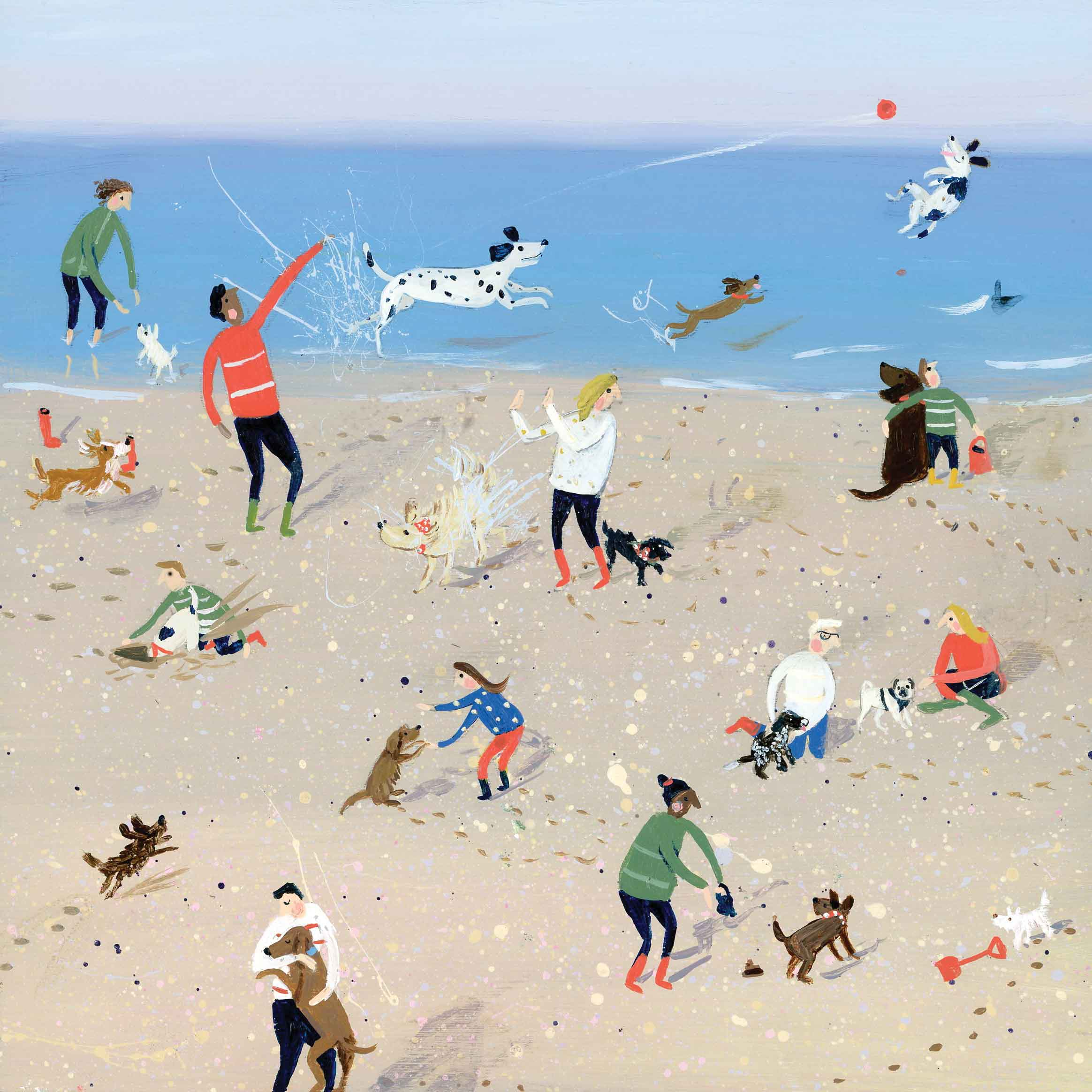 Art greeting card by Jenni Murphy, Seaside Doggies, acrylic, dogs and people on the beach