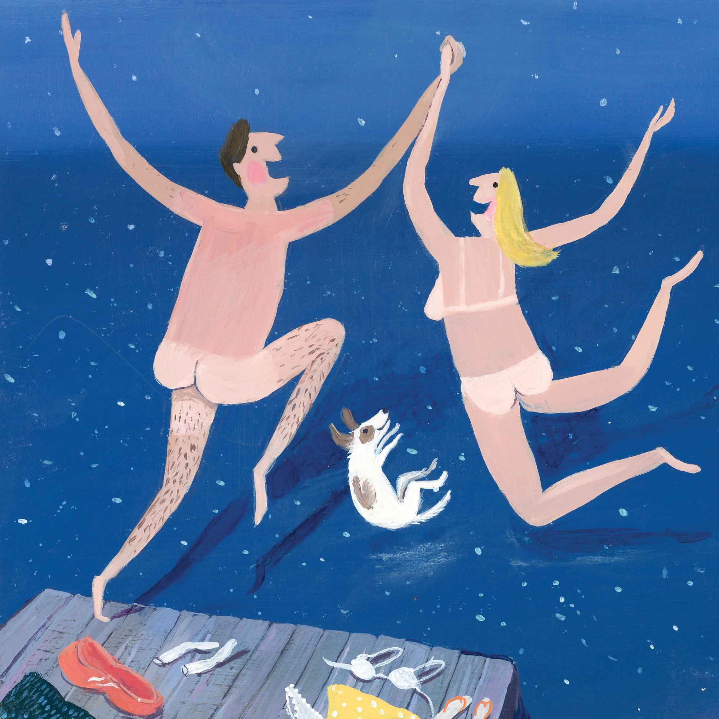 Art greeting card by Jenni Murphy, Skinny Dippers, acrylic, a couple skinny dipping and their dog