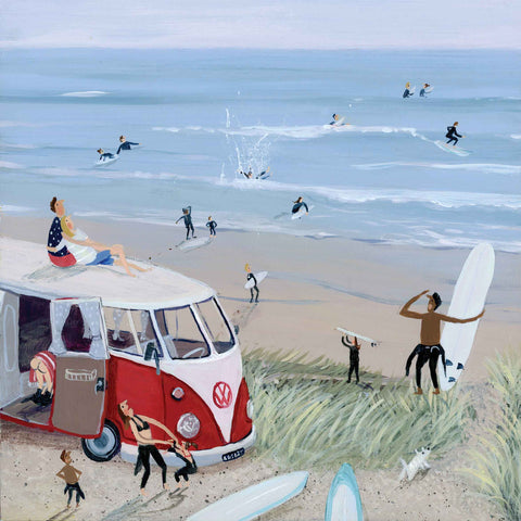 Art greeting card by Jenni Murphy, Surfing, acrylic, beach scene with camper van and surfers in and out of water