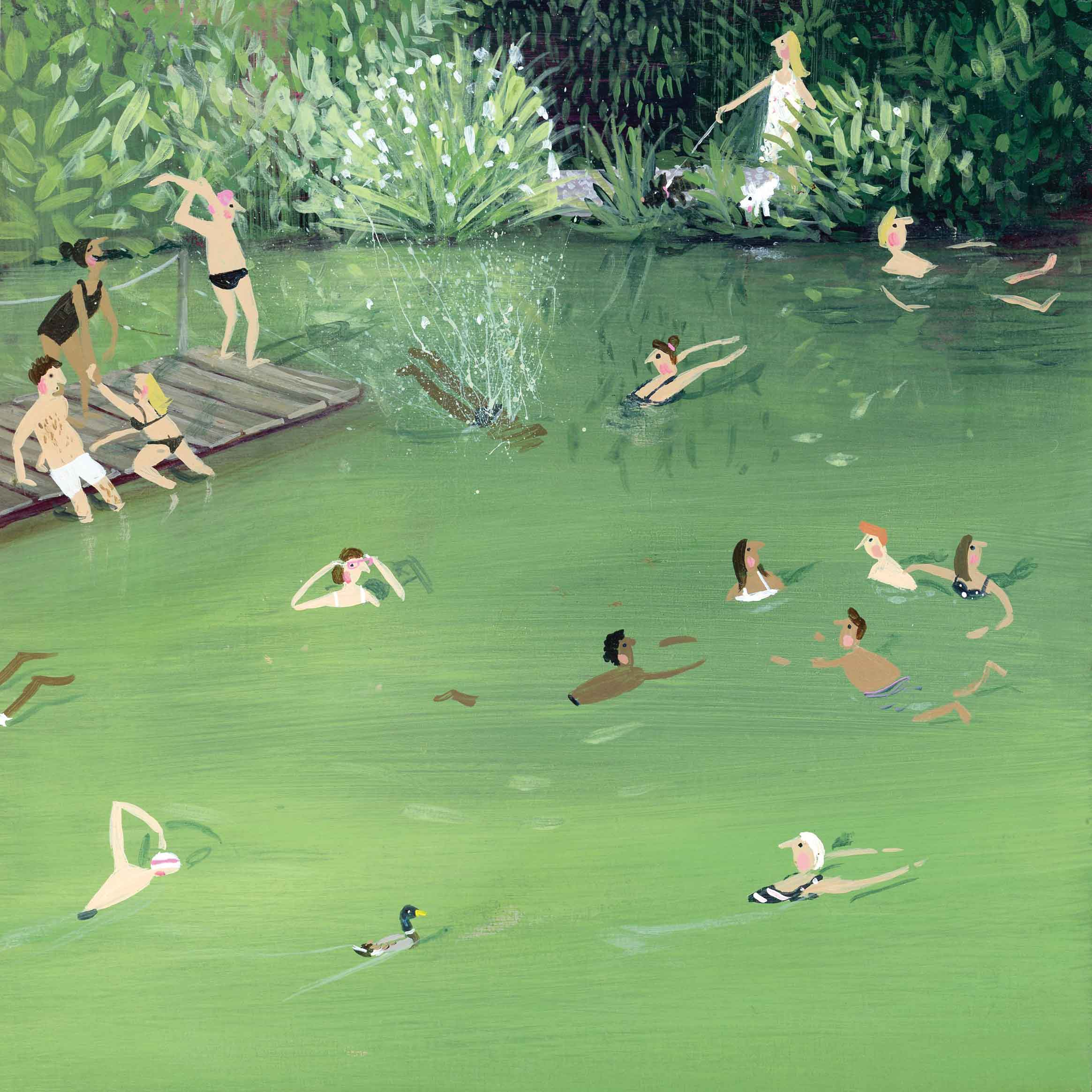 Art greeting card by Jenni Murphy, Wild Swimming, acrylic, people swimming in a lake