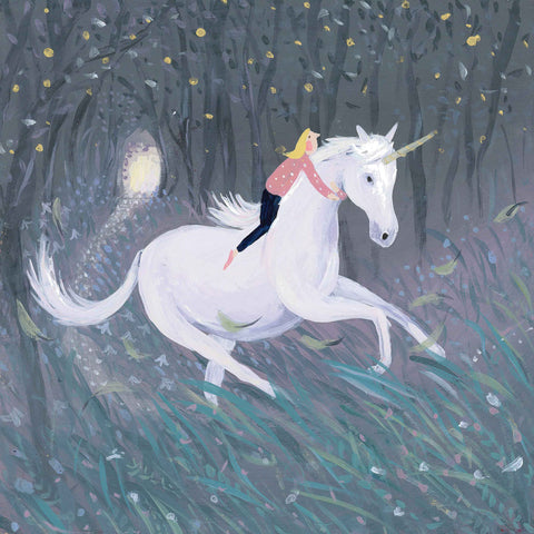 Art greeting card by Jenni Murphy, Unicorn, acrylic, woman on unicorn in woods