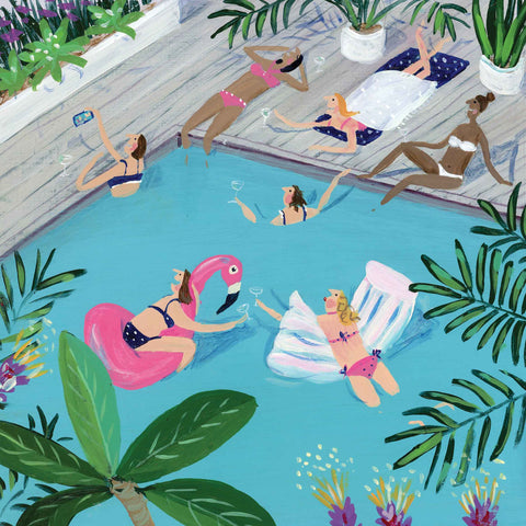 Girls' Holiday, Art greeting card by Jenni Murphy, acrylic, group of holidaying women in and around a pool