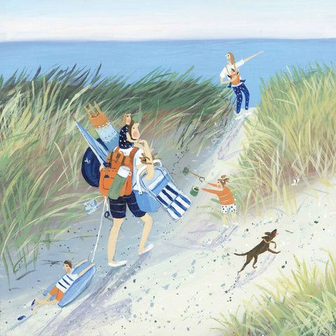 Art greeting card by Jenni Murphy, Family arriving at beach