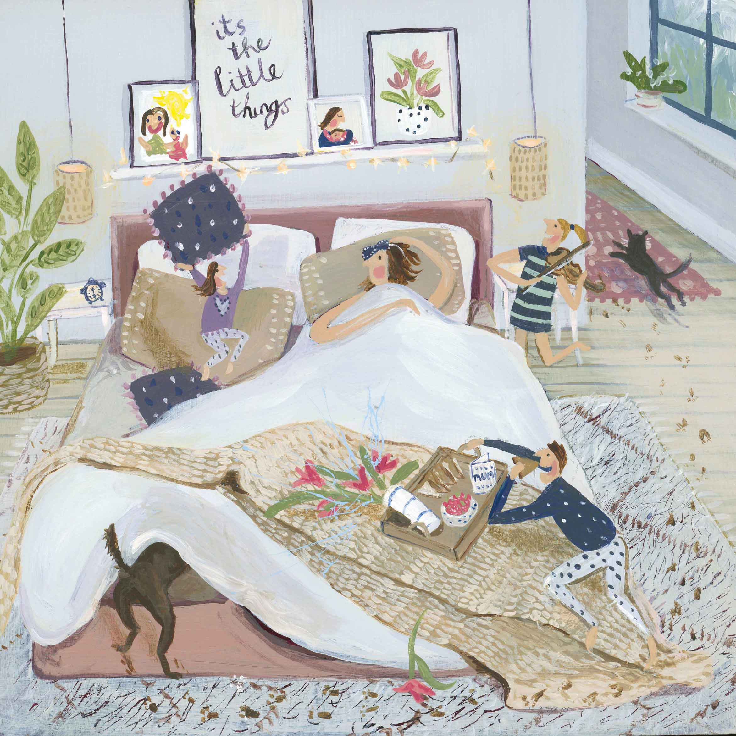 Art greeting card by Jenni Murphy, Children and dog waking mum for mothers day