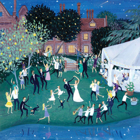 Art greeting card by Jenni Murphy, Outdoor wedding scene
