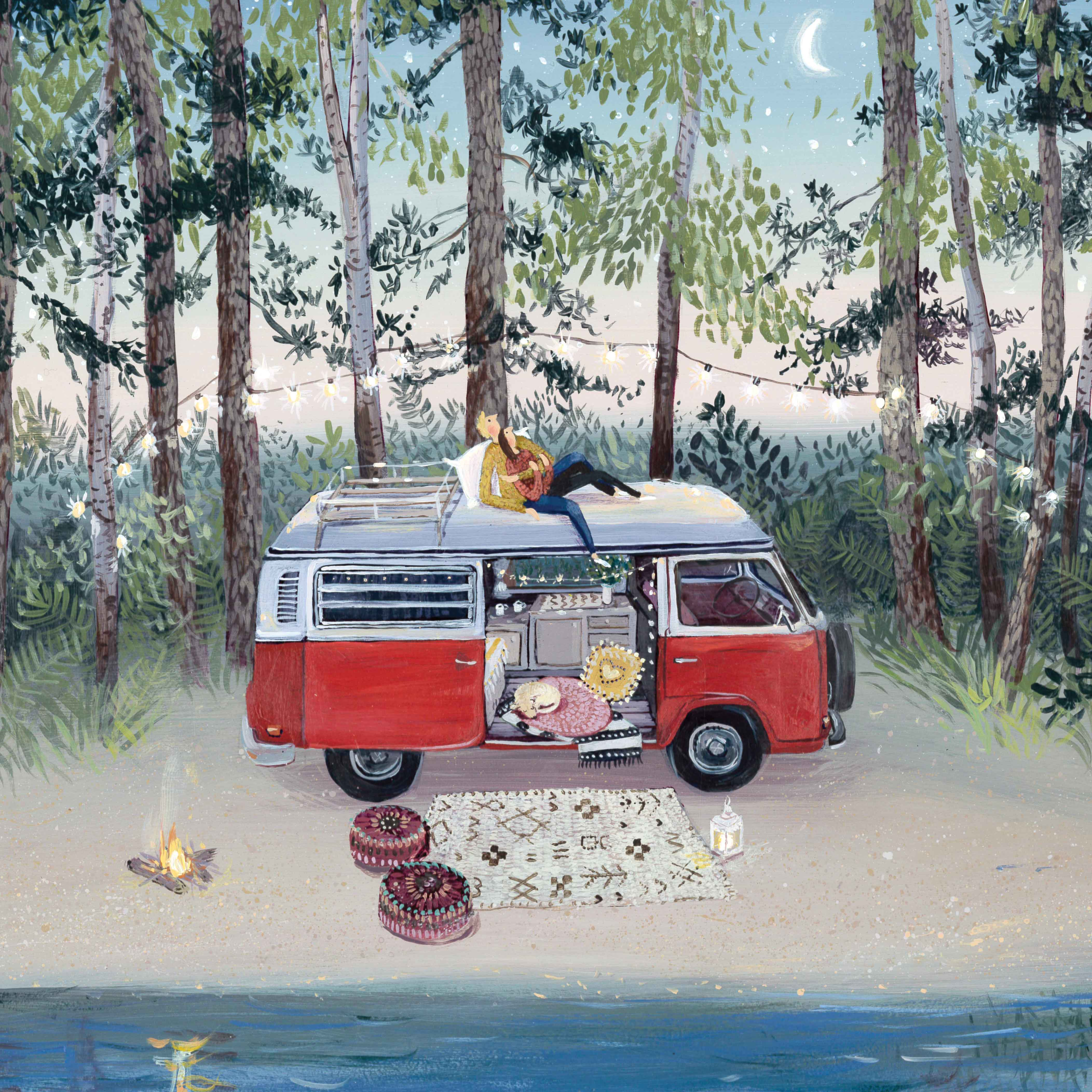 Art greeting card by Jenni Murphy, Acrylic, Van parked by trees, couple holding each other watching the stars