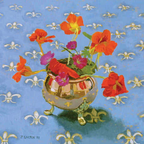Art Greeting Card by Jeremy Galton, Nasturtiums, Oil on board