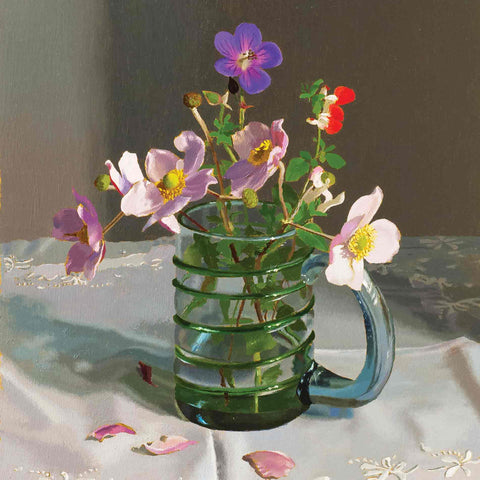 Art Greeting Card by Jeremy Galton, September Flowers, Oil on Panel, Flowers in glass on table
