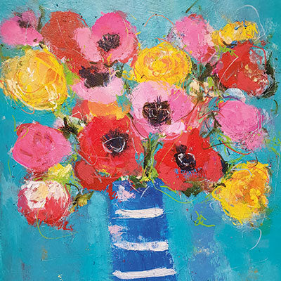Art Greeting Card by Jenny Handley, Colourful Bouquet, Acrylic painting, flowers in vase