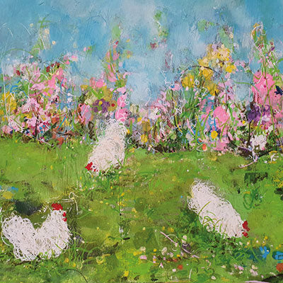 Art Greeting Card by Jenny Handley, Three Hens, Acrylic painting, hens in garden