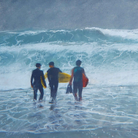 Art Greeting Card by Jon Pryke, Pastel, Three surfers going into the sea