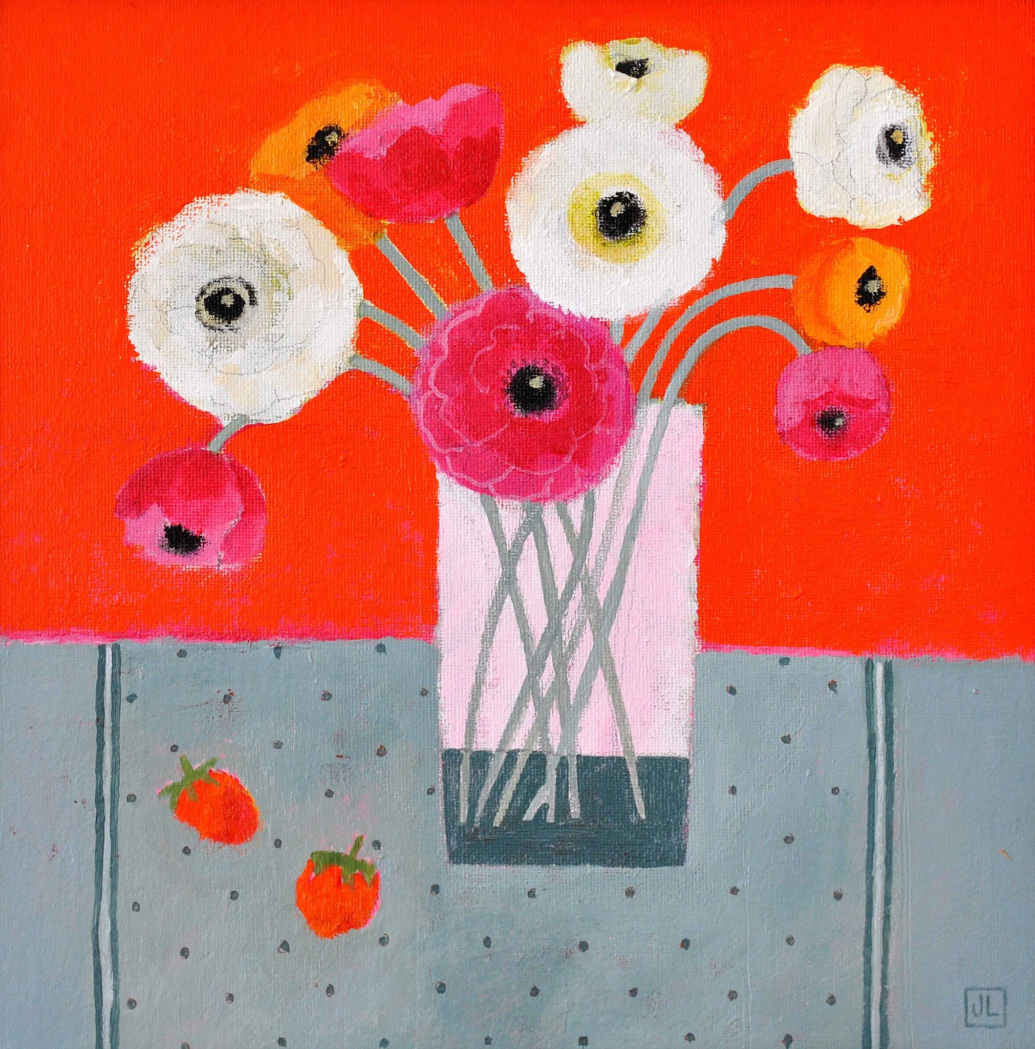 Fine Art Greeting Card, Acrylic on Board, Ranunculus in a glass with orange background