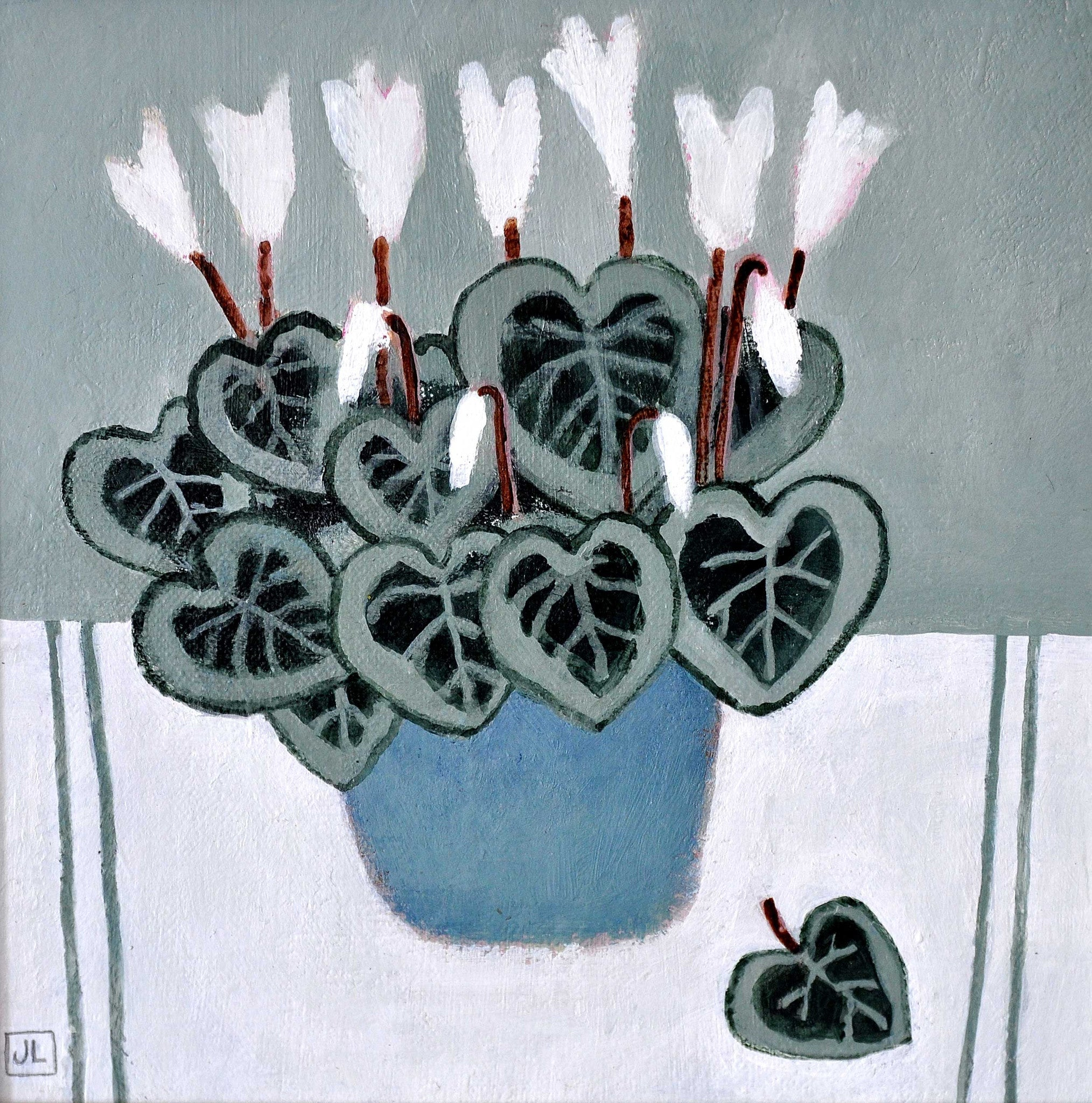 Fine Art Greeting Card, Acrylic on Board, Cyclamen in a blue pot
