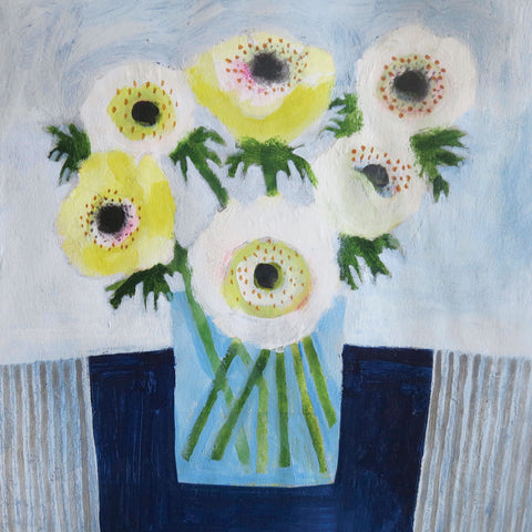 Anemones by Jill Leman, Fine Art Greeting Card, RWS range , Acrylic on Paper, Anemones in vase
