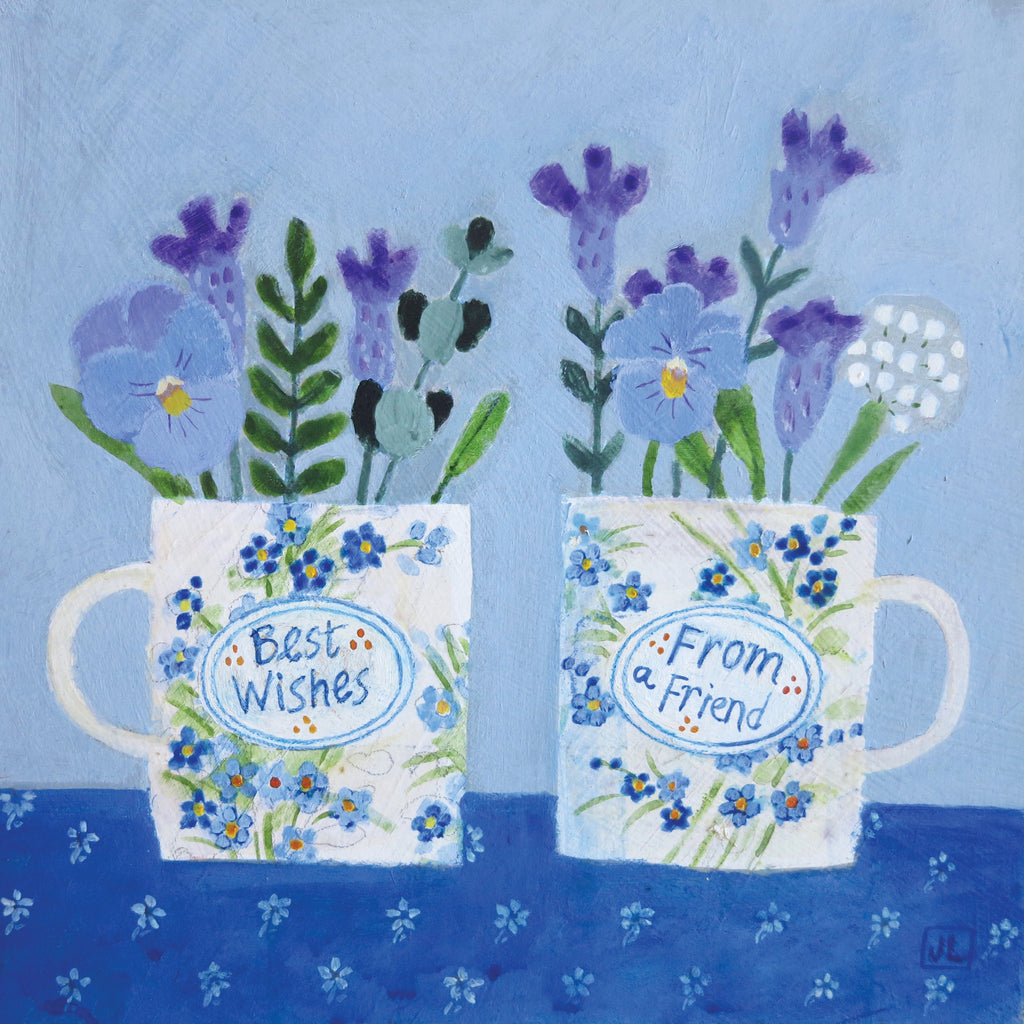 Best Wishes by Jill Leman, Fine Art Greeting Card, Acrylic on Board, Two cups with blue flowers