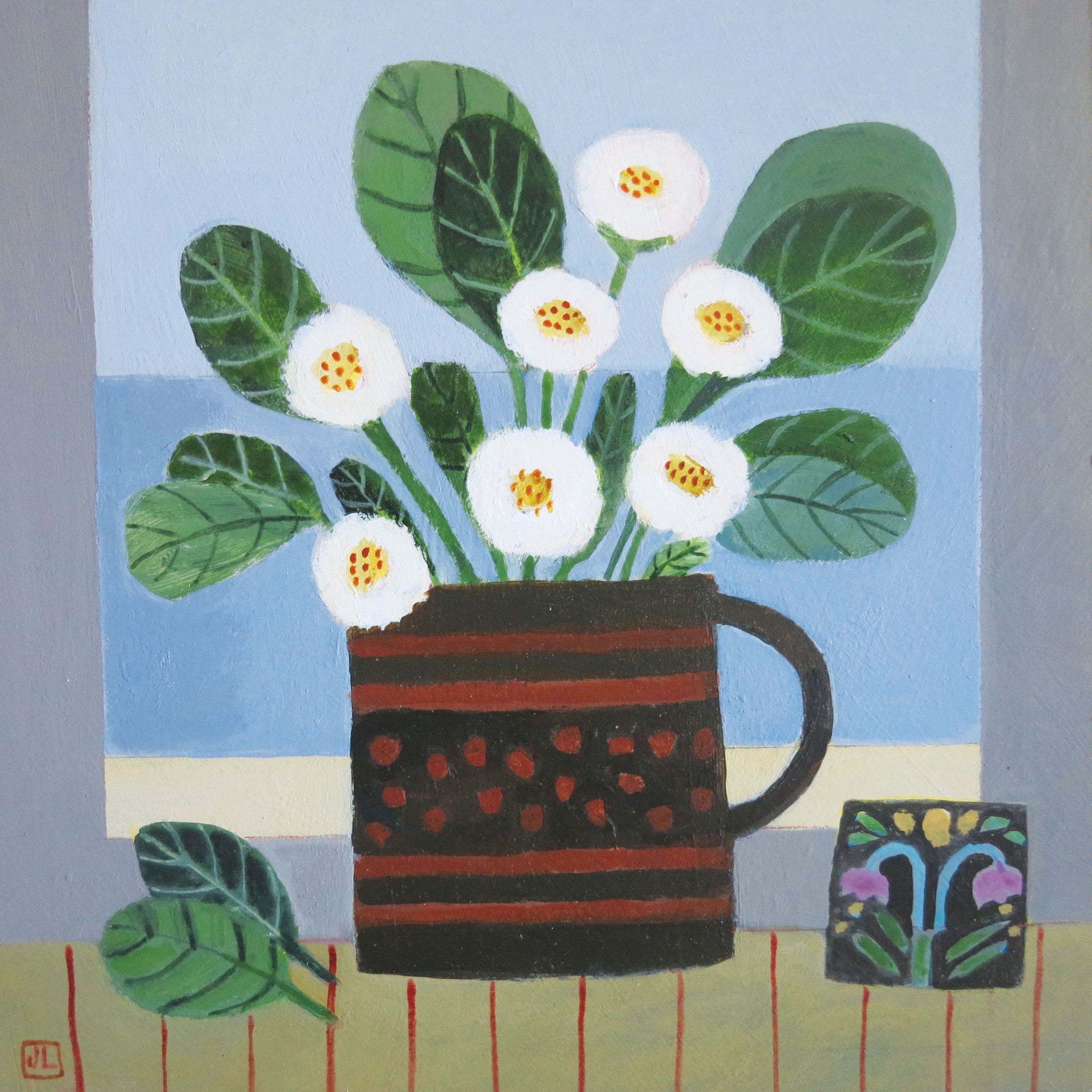 Daisies on the Windowsill by Jill Leman, Fine Art Greeting Card, Acrylic on Board, Daisies in brown cup