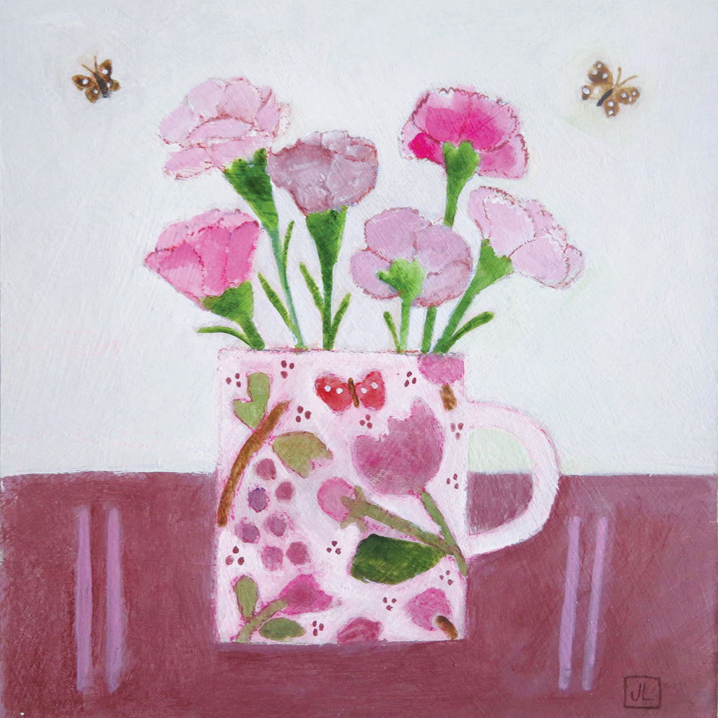 Pinks by Jill Leman, Fine Art Greeting Card, Acrylic on Board, Pink flowers in cup