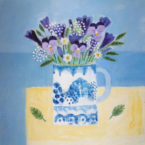 Fine Art Greeting Card by Jill Leman, Summer Flowers, Acrylic on board, Flowers in cup on table