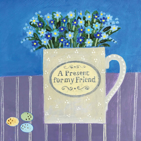 Art Greeting Card by Jill Leman, Acrylic painting, Forget-me-nots in a cup