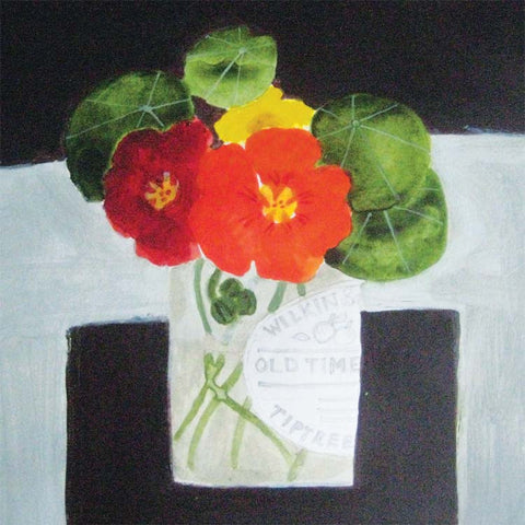 Fine Art Greeting Card, Nasturtiums in a jar