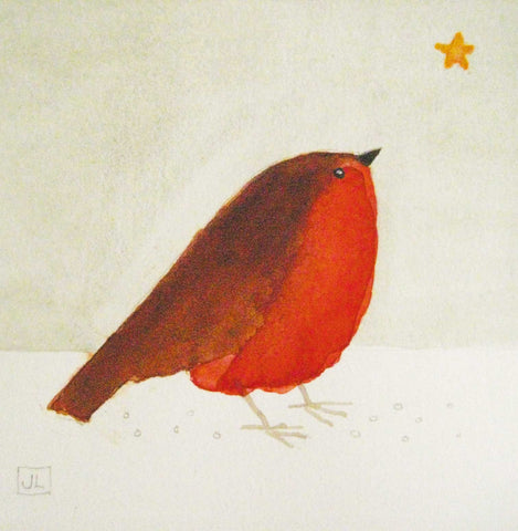 Fine Art Christmas Card Pack, Watercolour, Robin and a star
