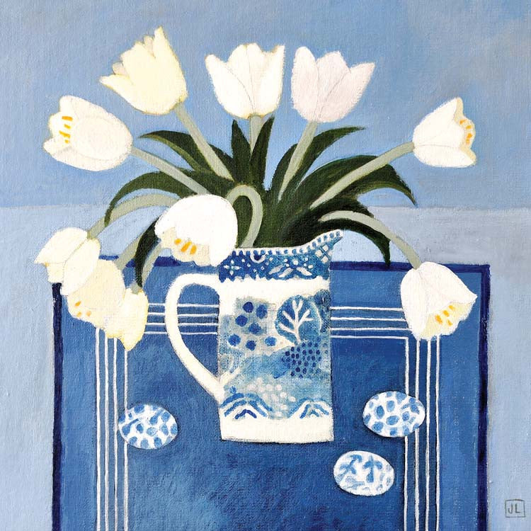 Fine Art Greeting Card, Acrylic on Board, White tulips in blue and white vase