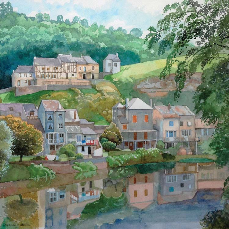 Fine Art Greeting Card, Village by river