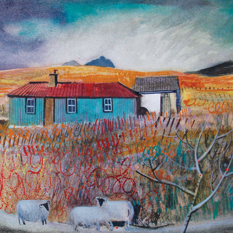 Into the Wild by Jenny Wheatley, Fine Art Greeting Card, Watercolour, Landscape with blue house and sheep