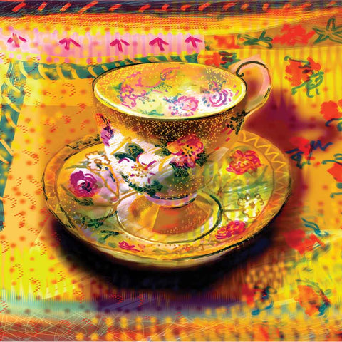 Afternoon Tea by Jenny Wheatley, Art Greeting Card, Screenprint, Teacup