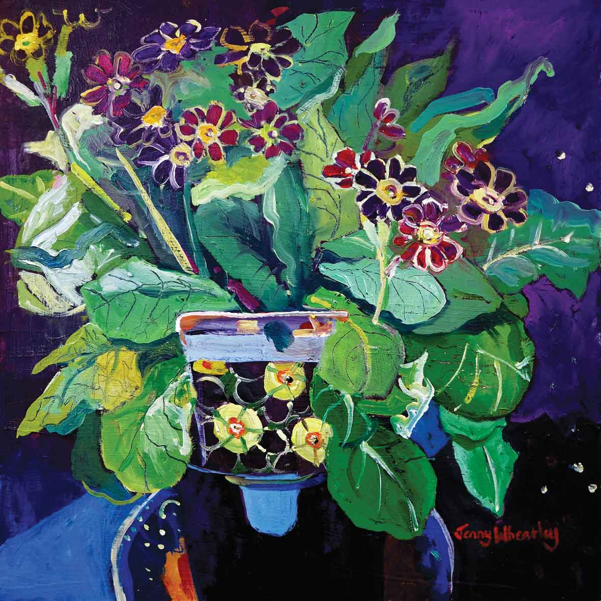 Art greeting card by Jenny Wheatley, Primula, oil painting of primula