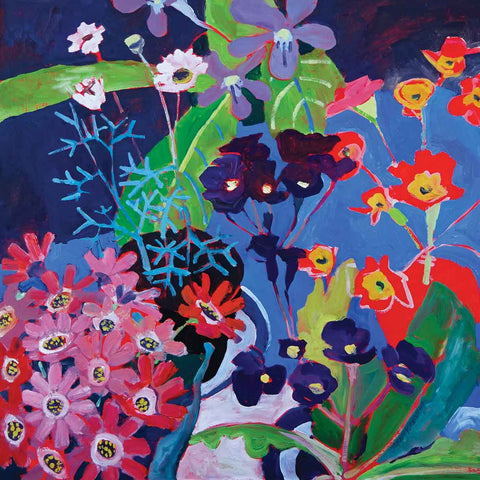 Art greeting card by Jenny Wheatley, Seaside Flowers, oil painting of flowers