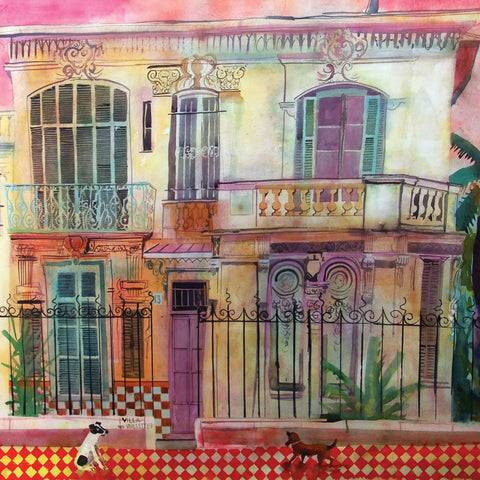 Villa des Violettes by Jenny Wheatley, Fine Art Greeting Card, RWS range, Two small dogs in front of a villa