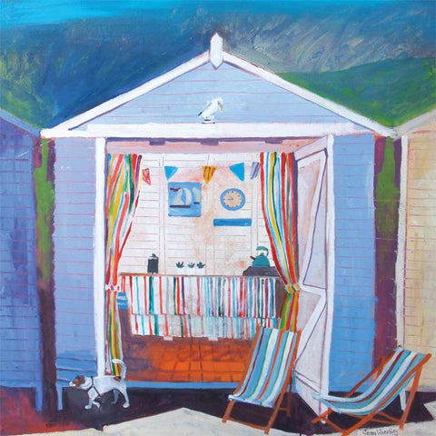 Fine Art Greeting Card, Acrylic on Canvas, Blue beach hut with deck chairs