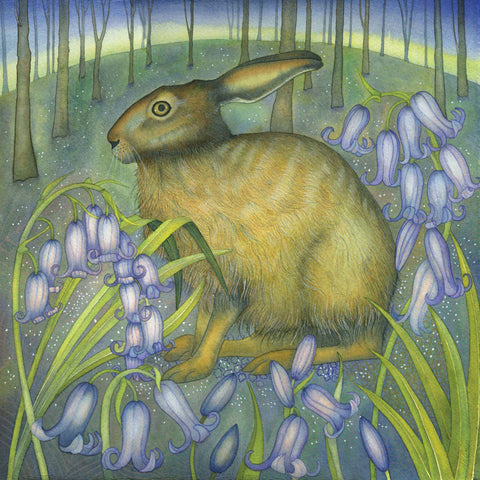 The Bluebell Hare by Kate Green, Art Greeting Card, Mixed Media, Hare and bluebells