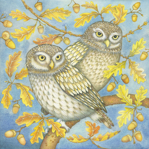 Two Little Owls by Kate Green, Art Greeting Card, Mixed Media, Two little owls on an oak branch