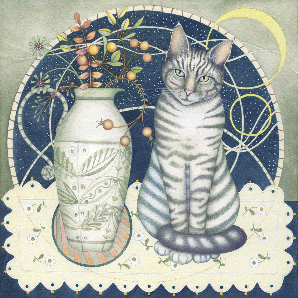Fine Art Greeting Card by Kate Green, Mixed Media, Cat sitting next to jug on table
